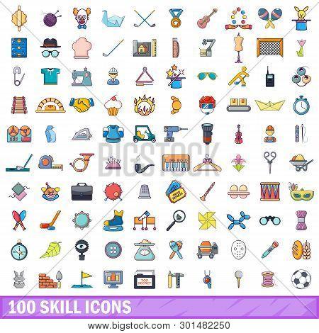 100 Skill Icons Set. Cartoon Illustration Of 100 Skill Icons Isolated On White Background