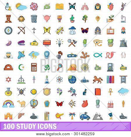 100 Study Icons Set. Cartoon Illustration Of 100 Study Icons Isolated On White Background