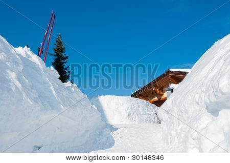 Snow Path To An Alpine Mountain Ski Hut