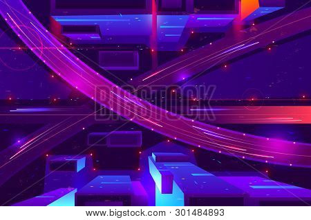 Metropolis Night Freeway Neon Colors, Top View Cartoon Vector. Cars Going In Two Level Highway With