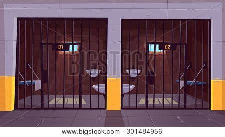 Prison Corridor With Two Empty Single Cells Behind Steel Bars Cartoon Vector. Jail Facility Interior