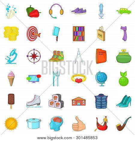 Lifestyle Icons Set. Cartoon Style Of 36 Lifestyle Icons For Web Isolated On White Background