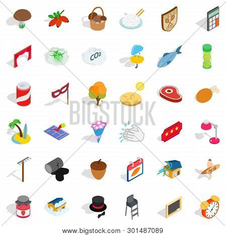 Lifetime Icons Set. Isometric Style Of 36 Lifetime Icons For Web Isolated On White Background