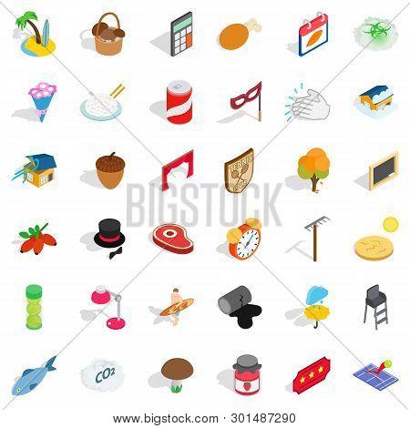 Lifestyle Icons Set. Isometric Style Of 36 Lifestyle Icons For Web Isolated On White Background