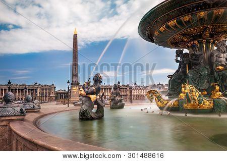 Paris, Fountain At Concorde Square ( Place De La Concorde)