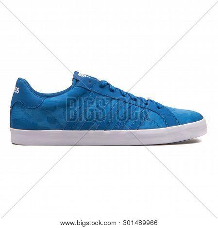 Vienna, Austria - August 10, 2017: K-swiss Belmont So T Camo Blue Sneaker On White Background.