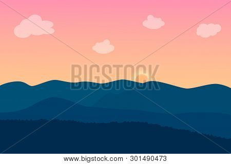Landscape Twilight Of Mountain With Pink Sky And Sun. Vector Illustration.