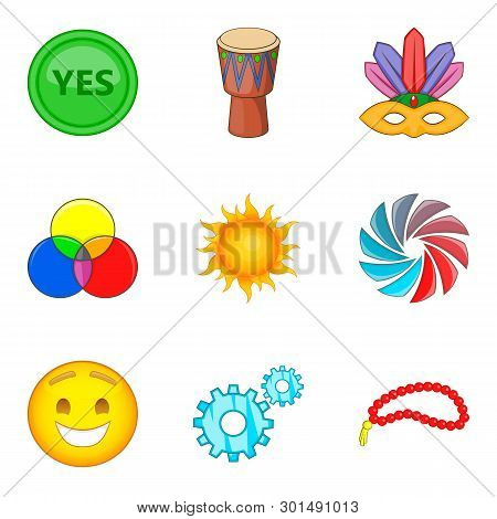 Merriment Icons Set. Cartoon Set Of 9 Merriment Icons For Web Isolated On White Background