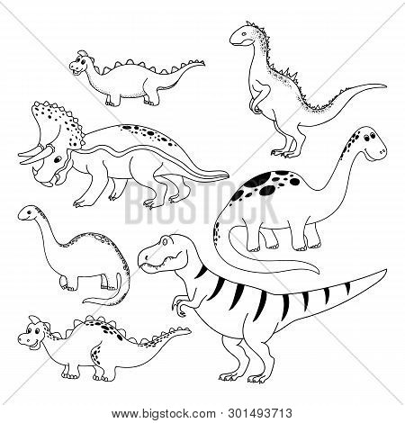 Dinosaurs Set. Hand Drawn Vector Dinosaurs On White Background. Cartoon Dino.