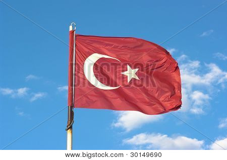 Turkey flag: the red is a predominant color in Turkish history. The half-moon and star, as well as being Islamic symbols have been used for a long time in Asia Minor, even before the advent of Islam