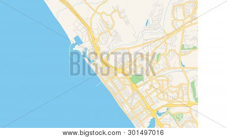 Empty Vector Map Of Oceanside, California, Usa, Printable Road Map Created In Classic Web Colors For