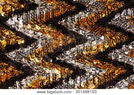 Shiny Abstract Background Of Semicircular Multi-colored Plastic Elements Of Sequins Texture Fashion