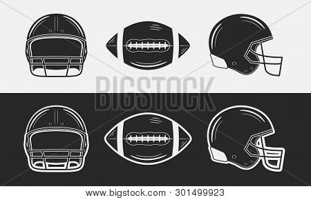 American Football Set. Football Helmets, Front And Side Views. Football Ball. Black And White. Vinta