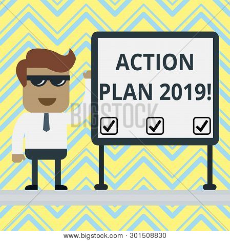 Handwriting Text Action Plan 2019. Concept Meaning Proposed Strategy Or Course Of Actions For Curren