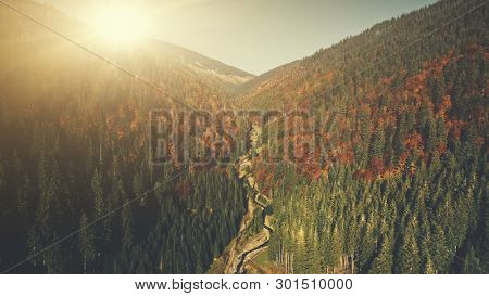 Colorful High Mountain Forest Slope Aerial View. Panoramic Coniferous Wildlife Nature Scenery Rocky Peak Overview. Hill Forestry Curved River Sight Clean Ecology Concept Drone Flight