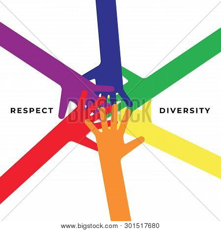 Lgbt Community Poster Design Template Background Decorative With Multicolored Hands. Graphic Design