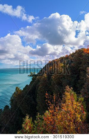 A Breezy Fall Day On Mackinaw Island Overlooking Lake Huron