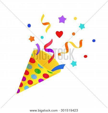 Bright Cartoon Birthday Symbol. Fun Holiday Popper With Colourful Confetti. Joyful Cartoon Style. Ve
