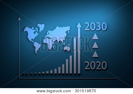 Illustration With Growth Infographics - Exponential Growth Over Period From 2020 To 2030 And World M
