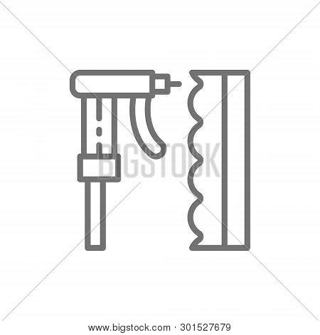 Soundproofing Wall, Caulking Gun, Electric Hot Glue Gun Line Icon.