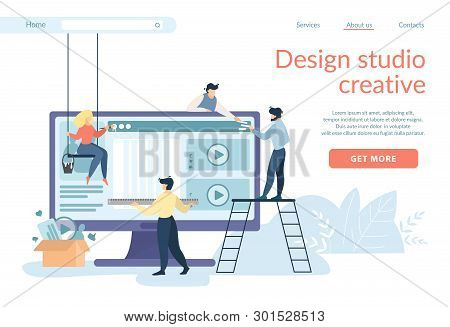 Design Studio Creative Horizontal Banner. Designers Creating Site Interface Working Together At Huge