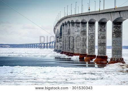 The Confederation Bridge linking Prince Edward Island to mainland New Brunswick, Canada.  View from the New Brunswick side.