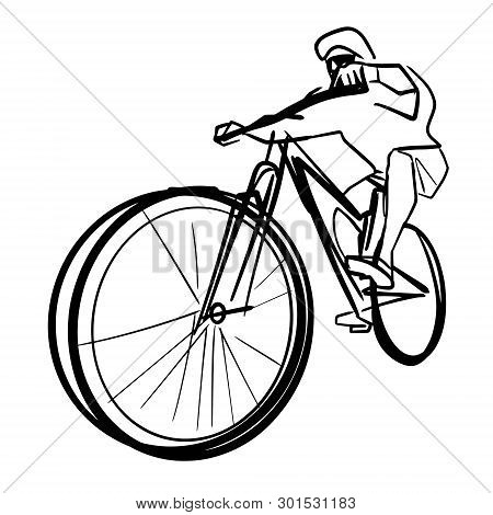 Single male bicyclist on bicycle. Abstract isolated contour. Hand drawn outlines. Black line drawing. Cycling illustration. Vector silhouette. poster