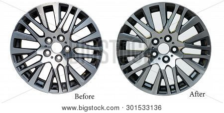 Repairing Alloy Wheels With Metal Shadows, Before Repairing And After Repairing