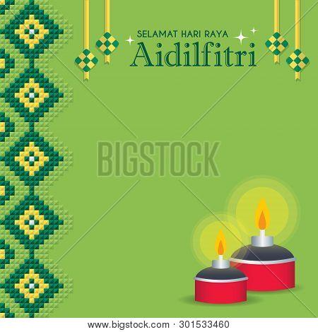 Selamat Hari Raya Aidilfitri Greeting Card. Ketupat (malay Rice Dumpling) & Pelita (oil Lamp) On Gre