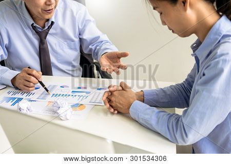Working In The Office. Manager Is Not Satisfied The Argument. Business Complaining In Discuss During