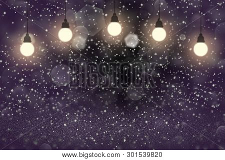 Purple Beautiful Glossy Abstract Background Light Bulbs With Sparks Fly Defocused Bokeh - Festal Moc