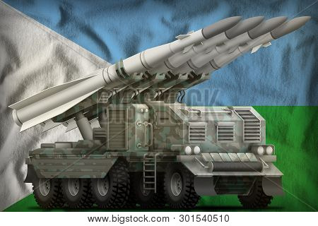 Tactical Short Range Ballistic Missile With Arctic Camouflage On The Djibouti Flag Background. 3d Il