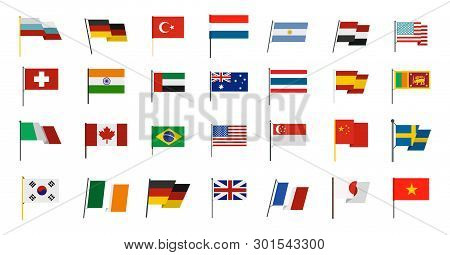 Country Flag Icon Set. Flat Set Of Country Flag Icons For Web Design Isolated On White Background