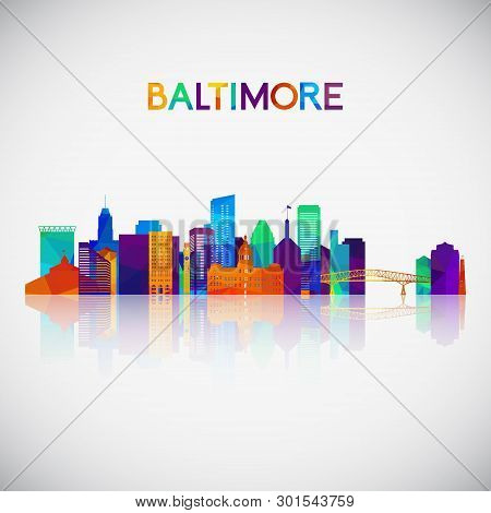 Baltimore Skyline Silhouette In Colorful Geometric Style. Symbol For Your Design. Vector Illustratio