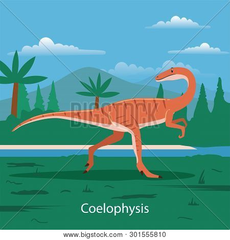 Illustration Of Coelophysis. Dinosaur Prehistoric Animal. Extinct Animals