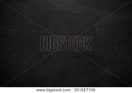 Genuine Black Fullgrain Leather Background