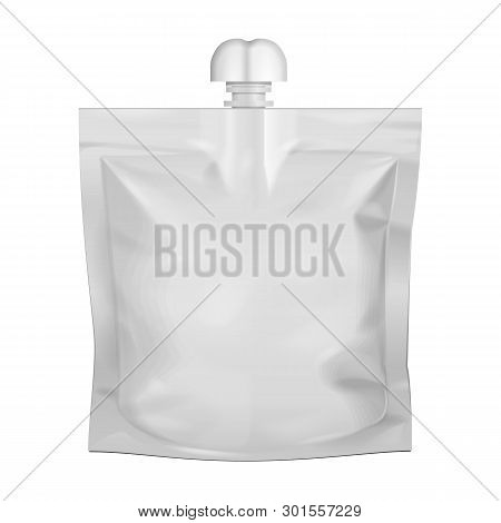 Mockup Pouch Sachet Bag With Spout Lid. Blank Food Stand Up Flexible. Mock Up, Template. Illustratio