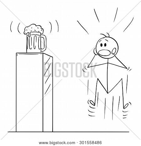 Cartoon Stick Figure Drawing Conceptual Illustration Of Mad, Wild Or Crazy Man Who Is Looking On Hal