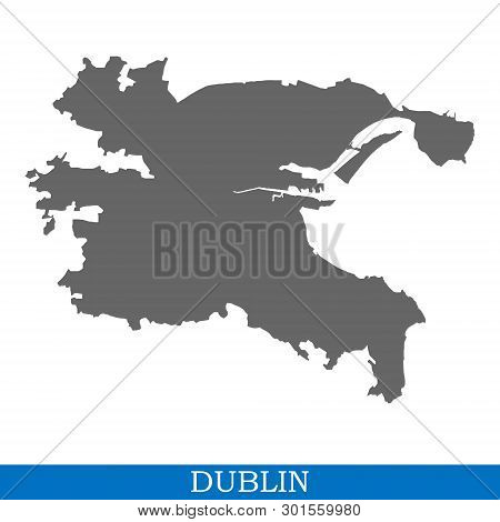 High Quality Map Of Dublin Is A City In Ireland, With Borders Of Districts