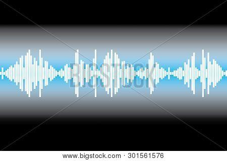 White Equalizer Element On A Black Background. Audio Logo Sign.
