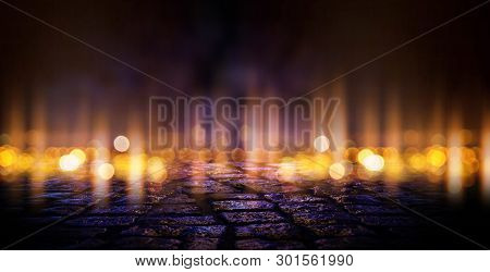 Dark Empty Scene, Multicolored Neon Searchlight Light, Reflection Of Abstract Bokeh Light, Wet Aspha