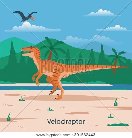 Illustration Of Velociraptor. Dinosaur Prehistoric Animal. Extinct Animals
