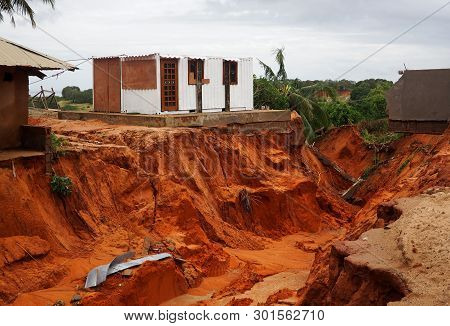 Pemba, Mozambique - 29 April 2019 : Damaged And Flooded Houses After Cyclone Kenneth.