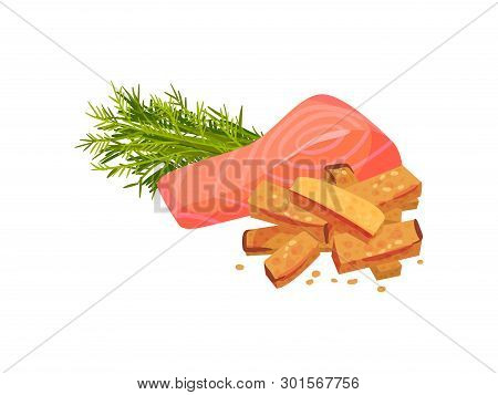 Croutons With Red Fish And Greens. Vector Illustration On White Background.