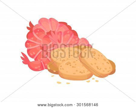 Croutons With Shrimp. Vector Illustration On White Background.