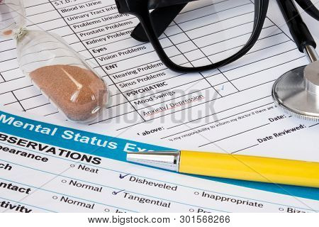 Photo From Scene Of Doctor Psychiatrist Or Psychologist Working Place Consulting Patient With Anxiet