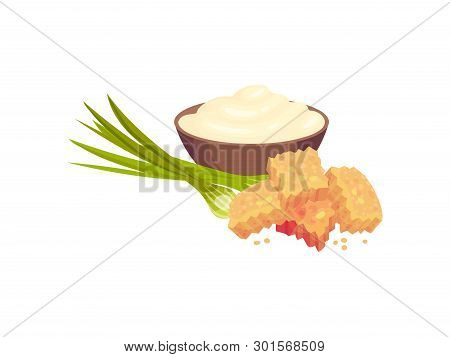 Rectangular Croutons With Onions And Sour Cream In A Bowl. Vector Illustration On White Background.
