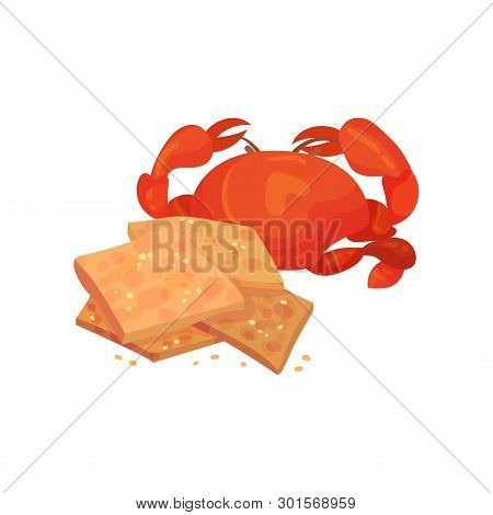 Square Croutons With Crab. Vector Illustration On White Background.