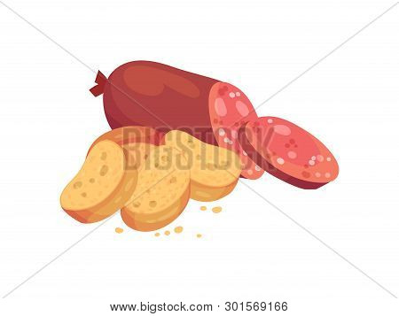 Oval Croutons With Salami. Vector Illustration On White Background.