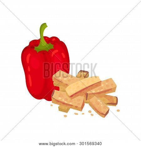 Rectangular Croutons With Red Pepper. Vector Illustration On White Background.